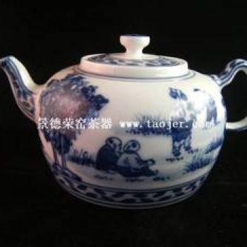 永春壶陈永春手绘仿古青花童子茶壶