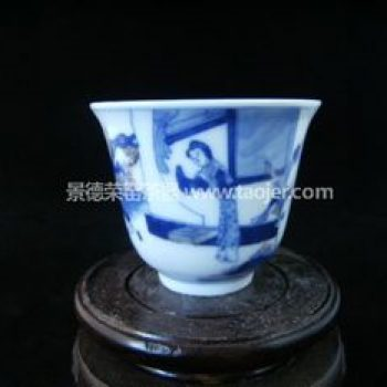 景德镇小雅青花瓷器杏林轩款慈母念子茶杯