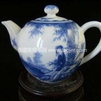 景德镇小雅青花瓷器小雅款美人如玉茶壶