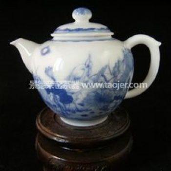 景德镇小雅青花瓷器小雅款荷塘鸟嘻茶壶