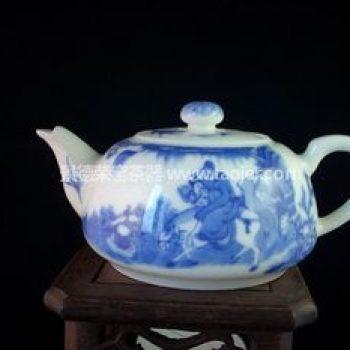 景德镇小雅青花瓷器上京赶考茶壶