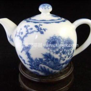 景德镇小雅青花瓷器小雅款雀上枝头茶壶