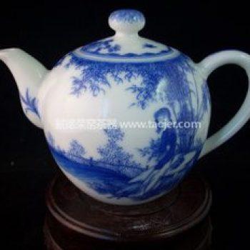 景德镇小雅青花瓷器美人如玉茶壶