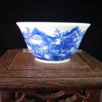 景德镇小雅青花瓷器碧玉堂制款山水路登科茶杯