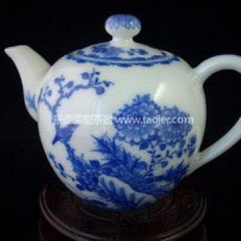 景德镇小雅青花花鸟茶壶