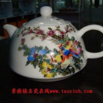 粉彩花鸟茶壶