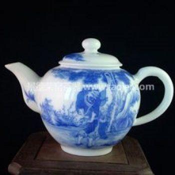 景德镇小雅青花瓷器小雅款铁拐李醉酒茶壶