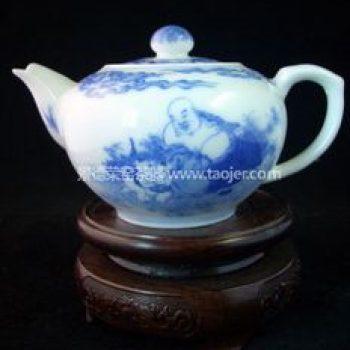 景德镇小雅青花瓷器小雅款禅语茶壶