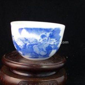 景德镇小雅青花瓷器小雅款太白醉酒茶杯