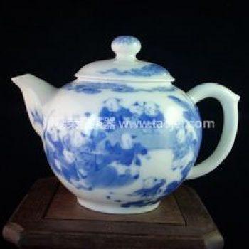 景德镇小雅青花瓷器小雅款群婴闹春茶壶