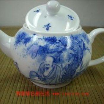 茗品窑手绘青花薄胎道人茶壶