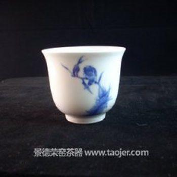 小雅青花花鸟仿王步绝品茶杯