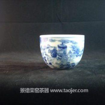玉春堂 青花 手绘 山水人物故事茶杯