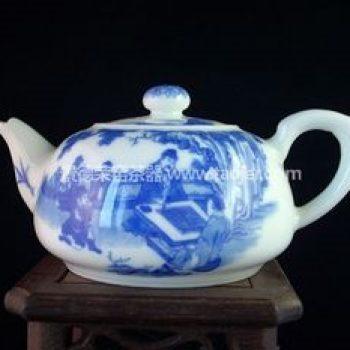 景德镇小雅青花瓷器松下对弈茶壶