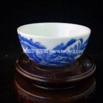 景德镇小雅青花瓷器小雅款山水茶杯