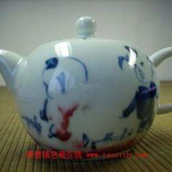 永春壶陈永春手绘青花童子茶壶