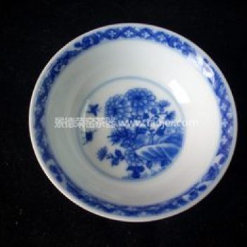 景德镇小雅青花瓷器小雅款早期紫金釉蝶恋花茶杯