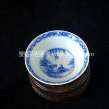 景德镇小雅青花瓷器小雅款渔家乐茶杯