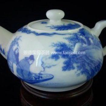 景德镇小雅阮窑款渔家乐茶壶
