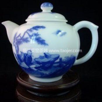 景德镇小雅青花瓷器小雅款韩湘子吹笛茶壶