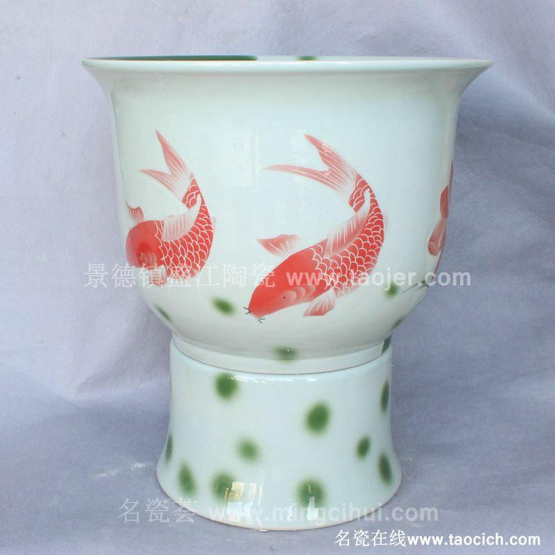 RYBH92景德镇陶瓷 白底 欧式 金鱼一体式 洗脸盆 家居工艺摆设