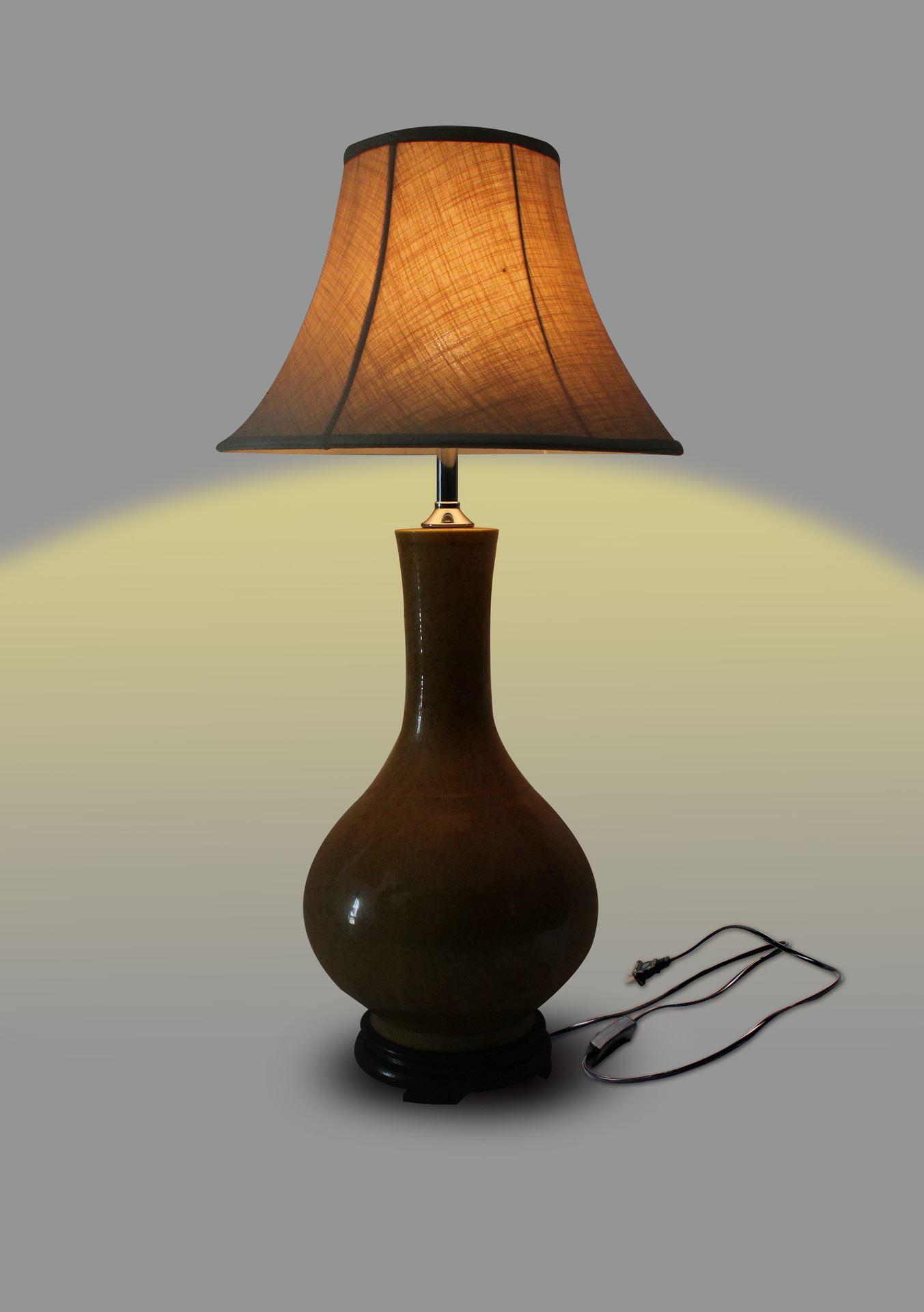 DSDB01景德镇 陶瓷 黄釉大天球灯具 台灯 灯具 灯饰 家居摆设