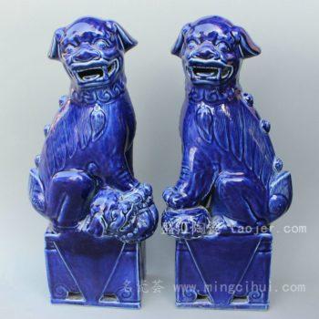 RYXZ01景德镇精品陶瓷双狮狗雕塑 蓝色艺术品 狮子