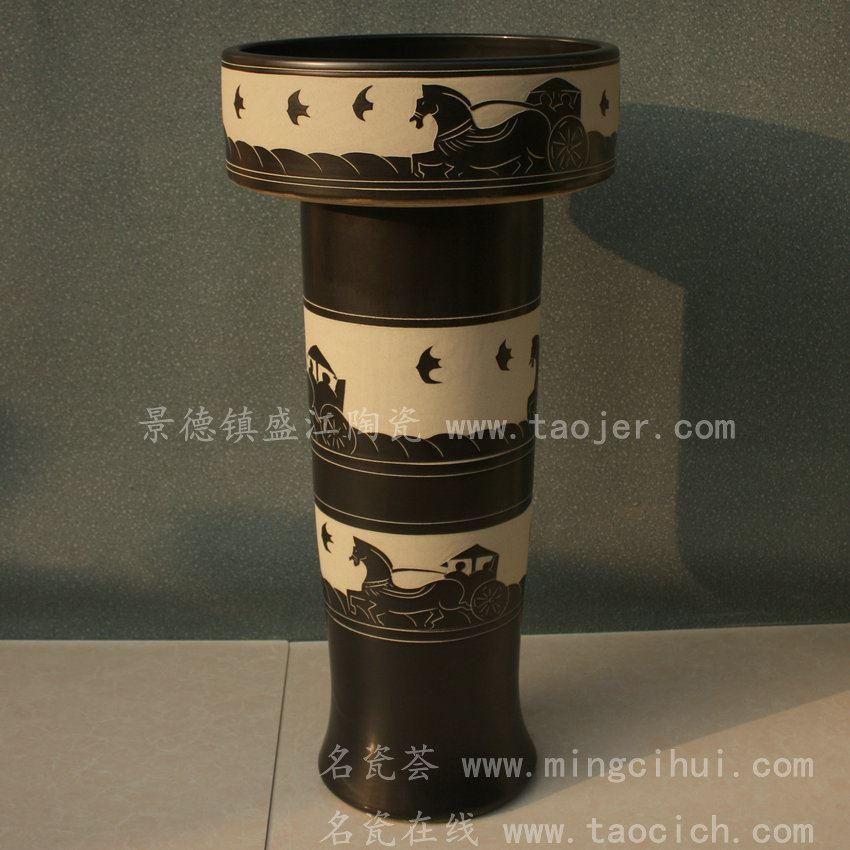 RYXW056景德镇 陶瓷 墨色马车 连体式洗脸盆 家居工艺摆设