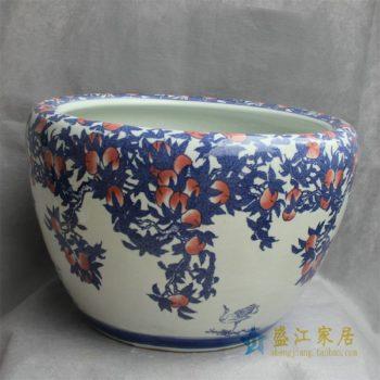 RYYY24景德镇精品陶瓷手绘鱼缸大缸水缸圆口缸花盆水培图案多样
