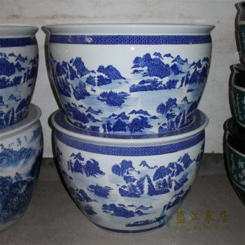 ZDE01景德镇精品陶瓷青花大缸水缸鱼缸水培花盆手绘青花山水缸