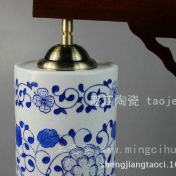 RYYJ01景德镇 陶瓷 精品青花直筒圆灯具 台灯 灯饰 家居摆设