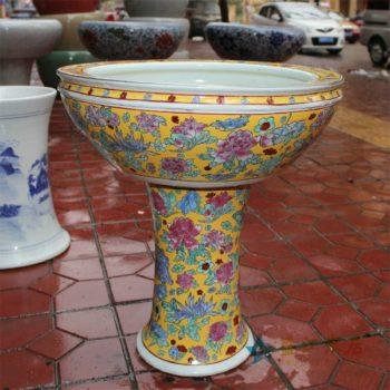 CX0708景德镇陶瓷黄底粉彩牡丹蝴蝶台盆立柱洗脸盆卫浴两款