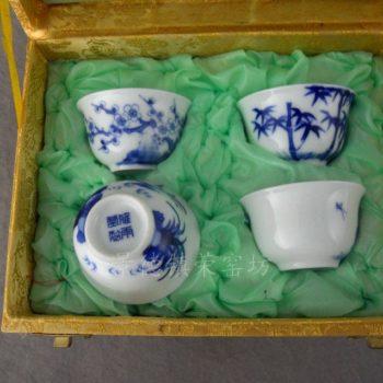 ZJU127景德镇雅雨堂手工陶瓷手绘青花梅兰竹菊品杯茶杯四件套