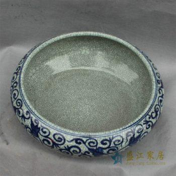 RYHD28景德镇陶瓷青花缠枝缸水盆水浅鱼缸开片裂纹水培缸 有彩色 举报