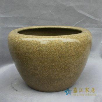 HD25景德镇精品陶瓷开片鱼缸水缸花盆黄色绿色开片大缸家居装饰