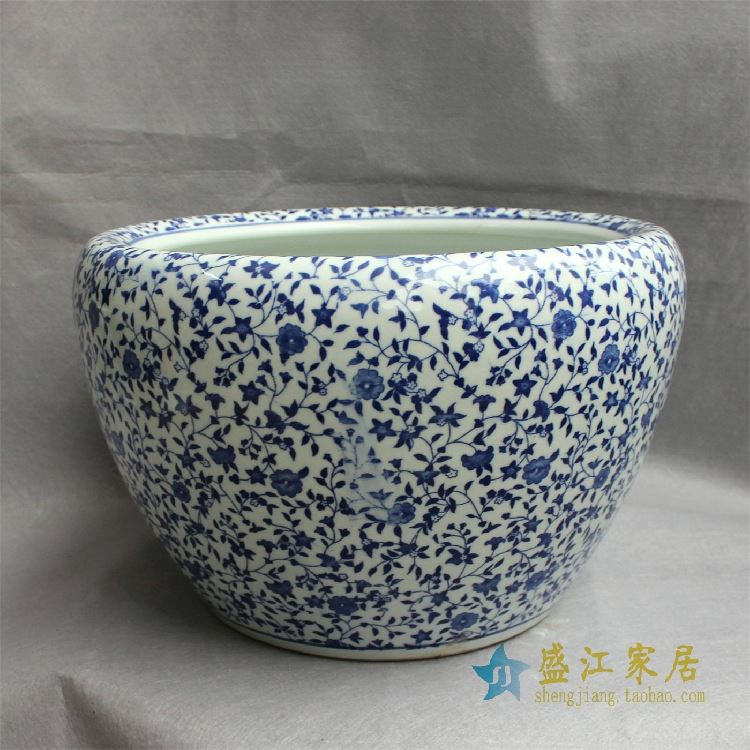 RYYY11景德镇精品陶瓷瓷器圆口鱼缸水缸大缸花盆水培多用缸图案多