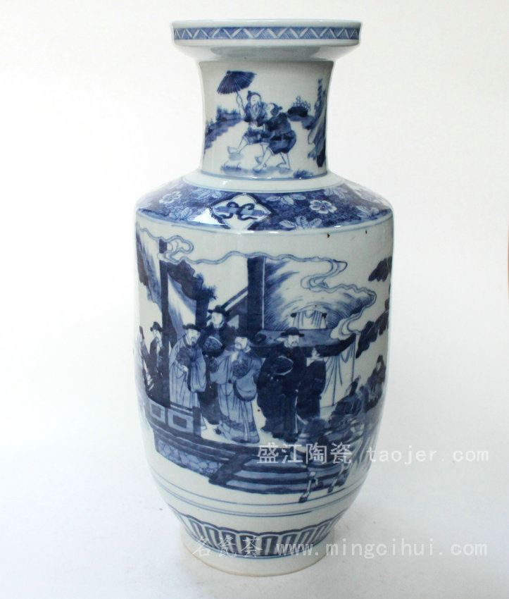 RYQQ14景德镇 精品 陶瓷 青花人物爆竹瓶