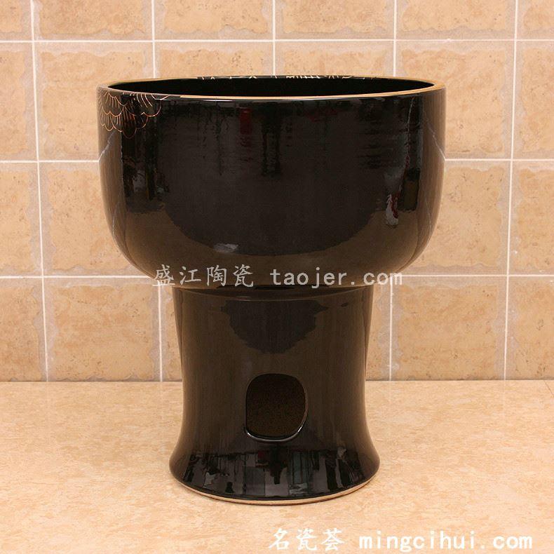 RYXW138景德镇 陶瓷 黑底金线牡丹 拖把池 家居工艺摆设