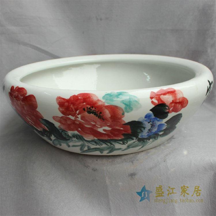 YY30景德镇精品陶瓷手绘青花粉彩水洗水缸山水风景缠枝荷花鱼
