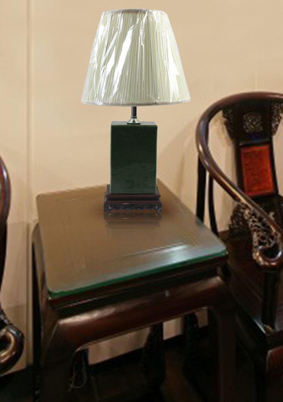 DSIF07景德镇 陶瓷 绿釉开片四方灯具 台灯 灯具 灯饰 家居摆设