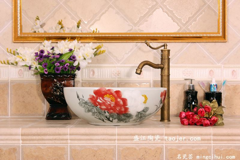 RYXW290景德镇 陶瓷 写意红白牡丹 洗脸盆 家居工艺摆设