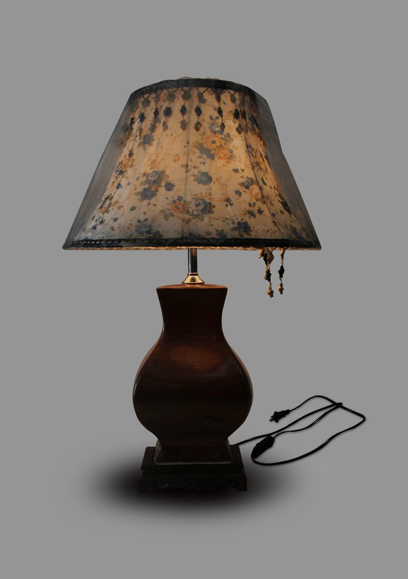DSNQ01景德镇 陶瓷 仿古铁锈红 台灯 灯具 灯饰 家居摆设