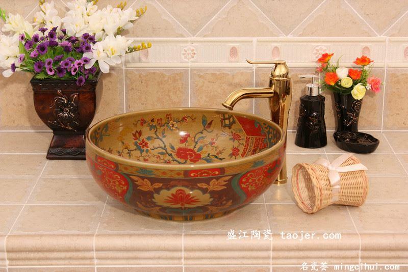 RYXW340景德镇 陶瓷 仿古奢华花鸟 洗脸盆 家居工艺摆设