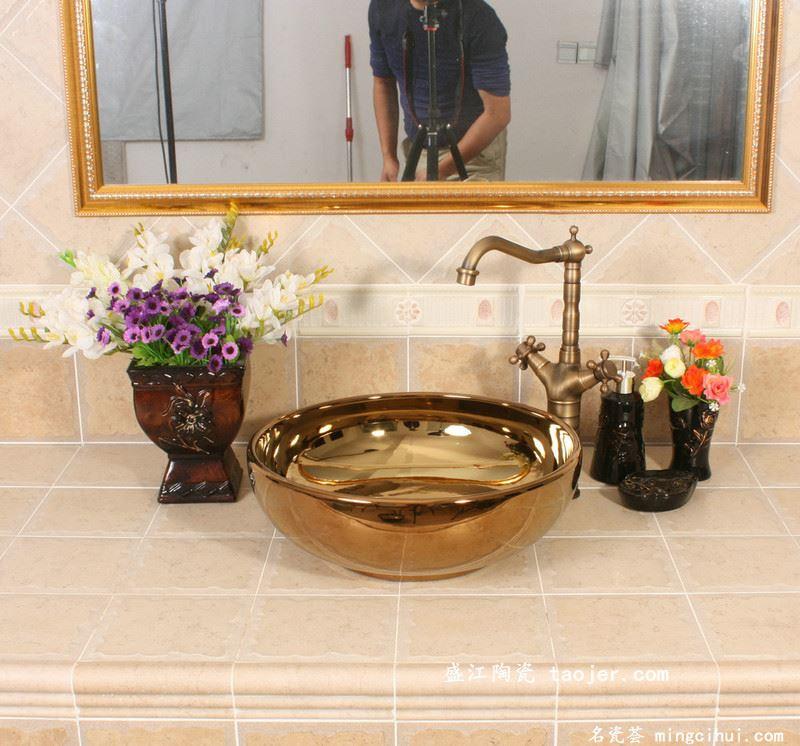 RYXW389景德镇 陶瓷 镀金盆 洗脸盆 家居工艺摆设