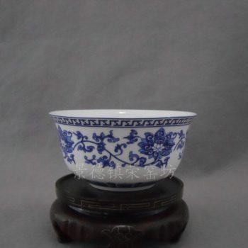SJDI32景德镇 精品陶瓷 手工 骨质碗缠枝莲饭碗礼盒包装十个一套