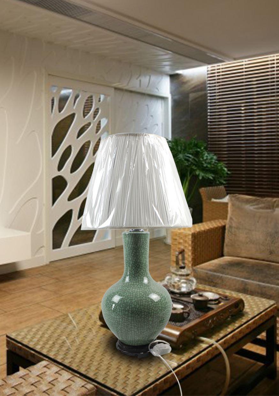 DSIF011景德镇 陶瓷 开片绿釉天球 台灯 灯具 灯饰 家居摆设
