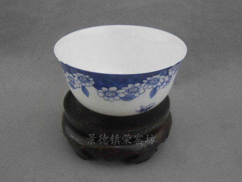 SJDI18骨质瓷青花蝴蝶碗 饭碗 (10个一套)