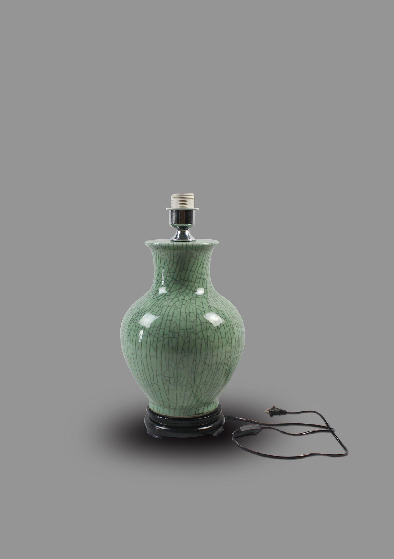 DSIF09景德镇 陶瓷 绿釉开片矮冬瓜 台灯 灯具 灯饰 家居摆设