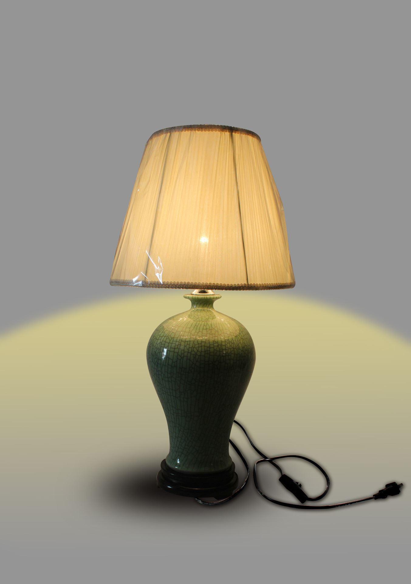 DSIF13景德镇 陶瓷 开片绿釉梅瓶 台灯 灯具 灯饰 家居摆设