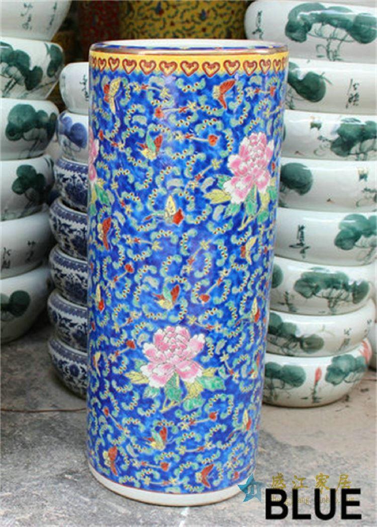 CX01景德镇精品陶瓷粉彩蝴蝶牡丹花缠枝笔筒直筒伞筒文房用具